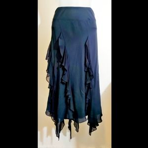 Jones New York Black 100% Silk Bohemian Skirt